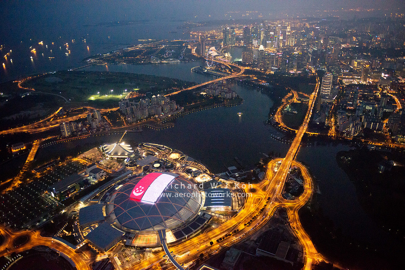 Aerial photography Over Singapore-Singapore Sports Hub